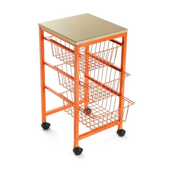 Pojízdná police se 3 košíky Versa Cocina Naranja