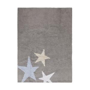 Šedý bavlněný ručně vyráběný koberec s modrou hvězdou Lorena Canals Three Stars, 120x160cm