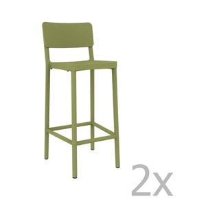 Sada 2 zelených barových židlí vhodných do exteriéru Resol Lisboa, výška 102,2 cm