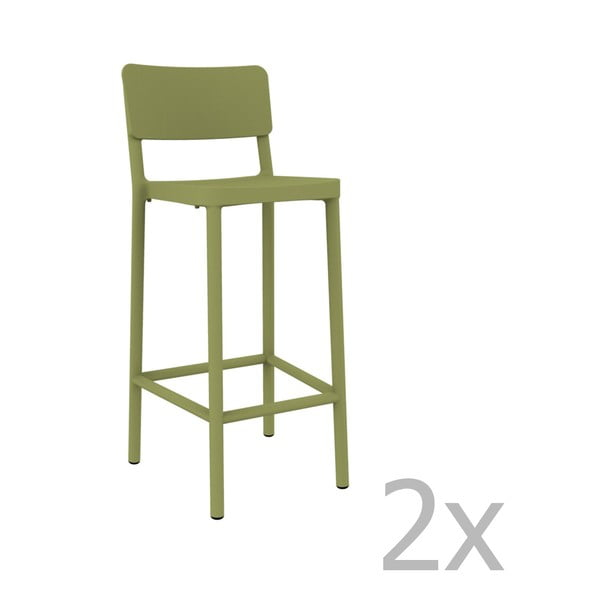 Sada 2 zelených barových stoličiek vhodných do exteriéru Resol Lisboa, výška 102,2 cm