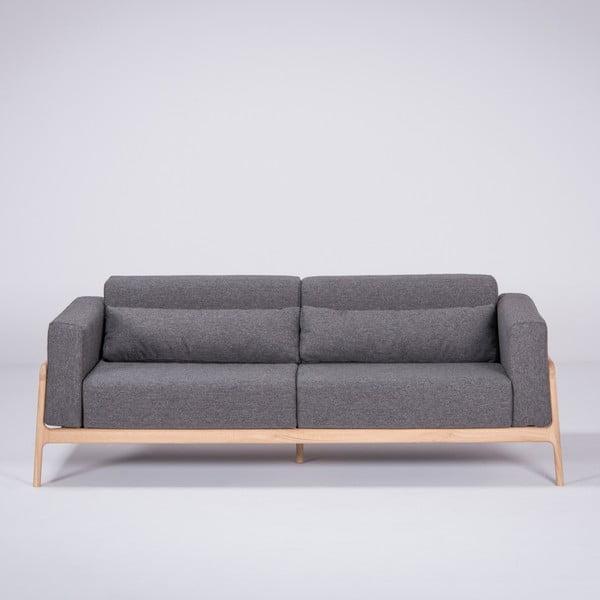 Ciemnoszara sofa z konstrukcją z litego drewna dębowego Gazzda Fawn, 210 cm