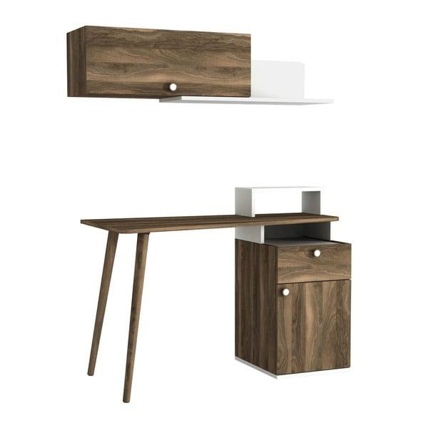 Komplet biurka i półki z dekorem drewna orzecha Ratto Athos