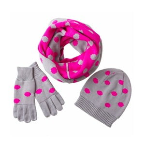Sada šály, čepice a rukavic Poetry Grunge Grey and Pink