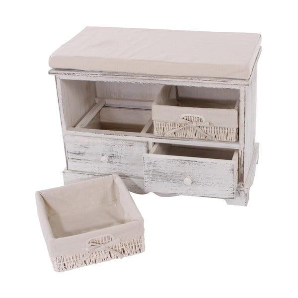 Set cuier și băncuță cu sertare Mendler Shabby,  alb