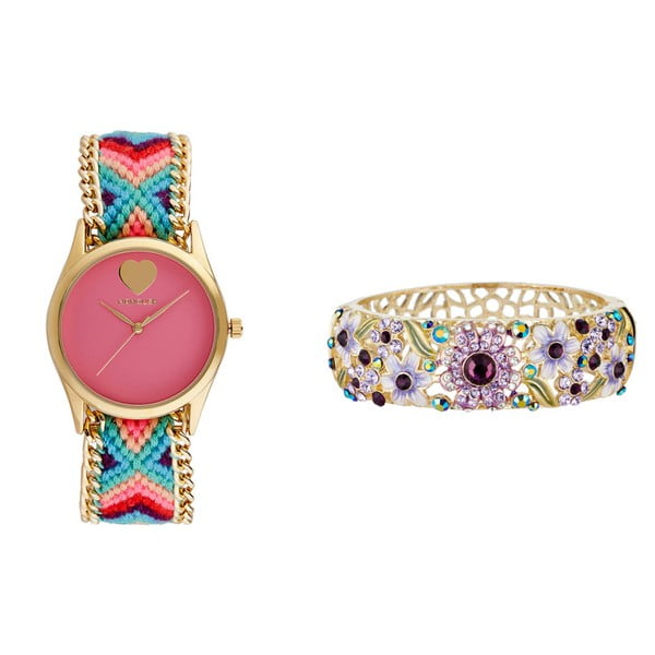 Set dámských hodinek s růžovým ciferníkem a prstenu Manoush Exotic