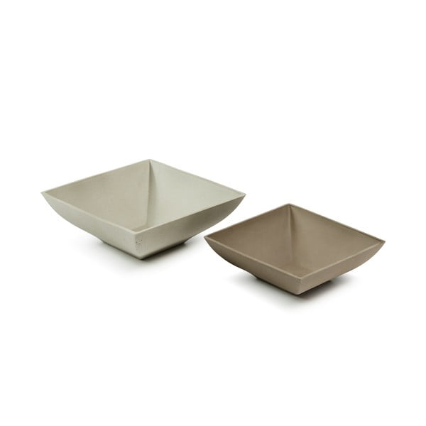 Safety 2 db barna-szürke cementezett tál - La Forma