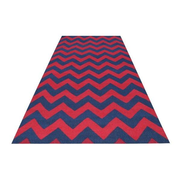 Vlněný koberec Kilim 06 Navy/Red, 160x240 cm