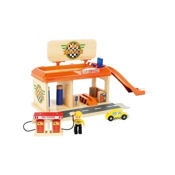 Benzinărie din lemn pentru copii Legler Petrol Station de la Legler