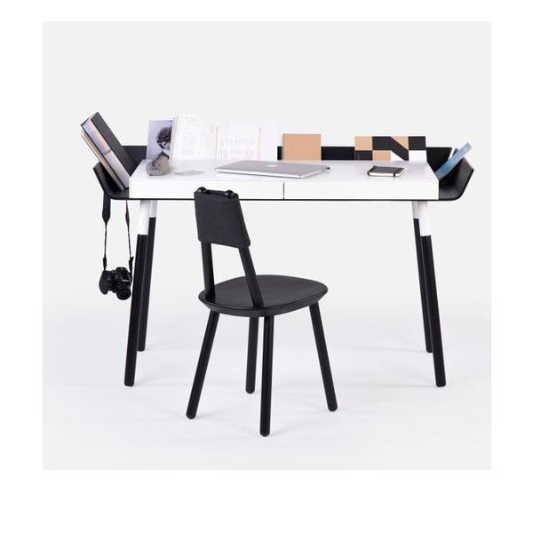 Černo-bílý psací stůl se 2 šuplíky EMKO My Writing