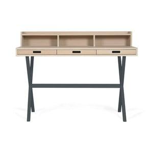 Pracovní stůl z dubového dřeva s šedými kovovými nohami HARTÔ Hyppolite, 120x55cm