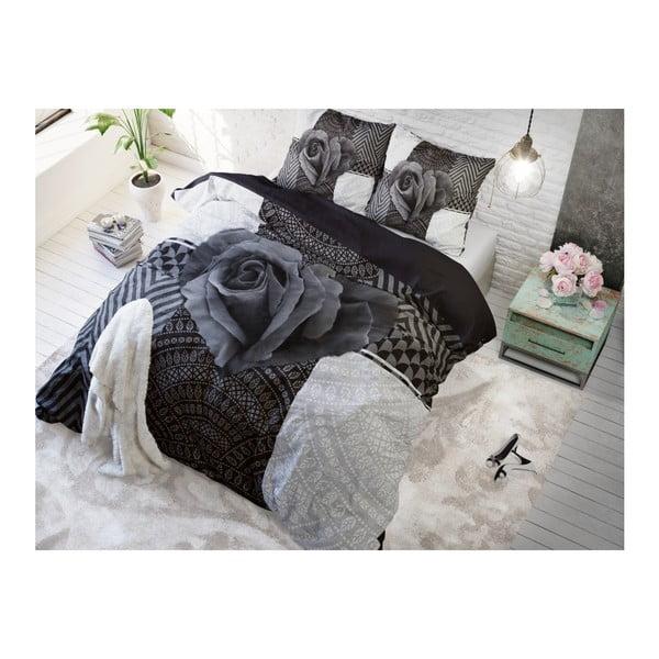 Lenjerie de pat din bumbac Dreamhouse Garden Rose, 140 x 200 cm, gri antracit