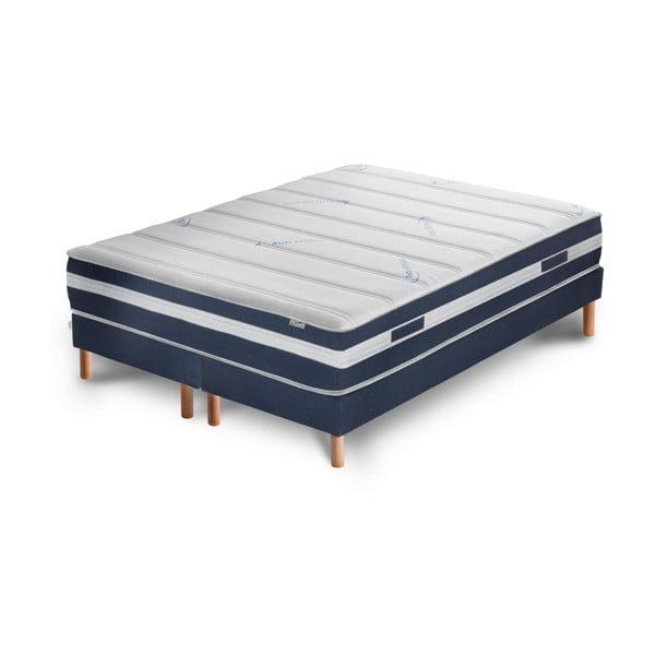 Ciemnoniebieskie łóżko z materacem i podwójnym boxspringiem Stella Cadente Maison Venus Europe, 140x200 cm