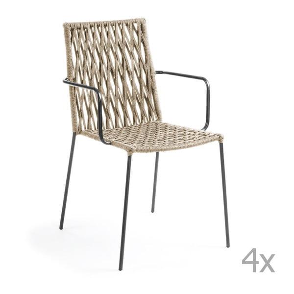 Sada 4 béžových stoličiek La Forma Bettie