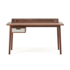 Pracovní stůl z ořechového dřeva s šedou zásuvkou HARTÔ Honoré, 140x70cm