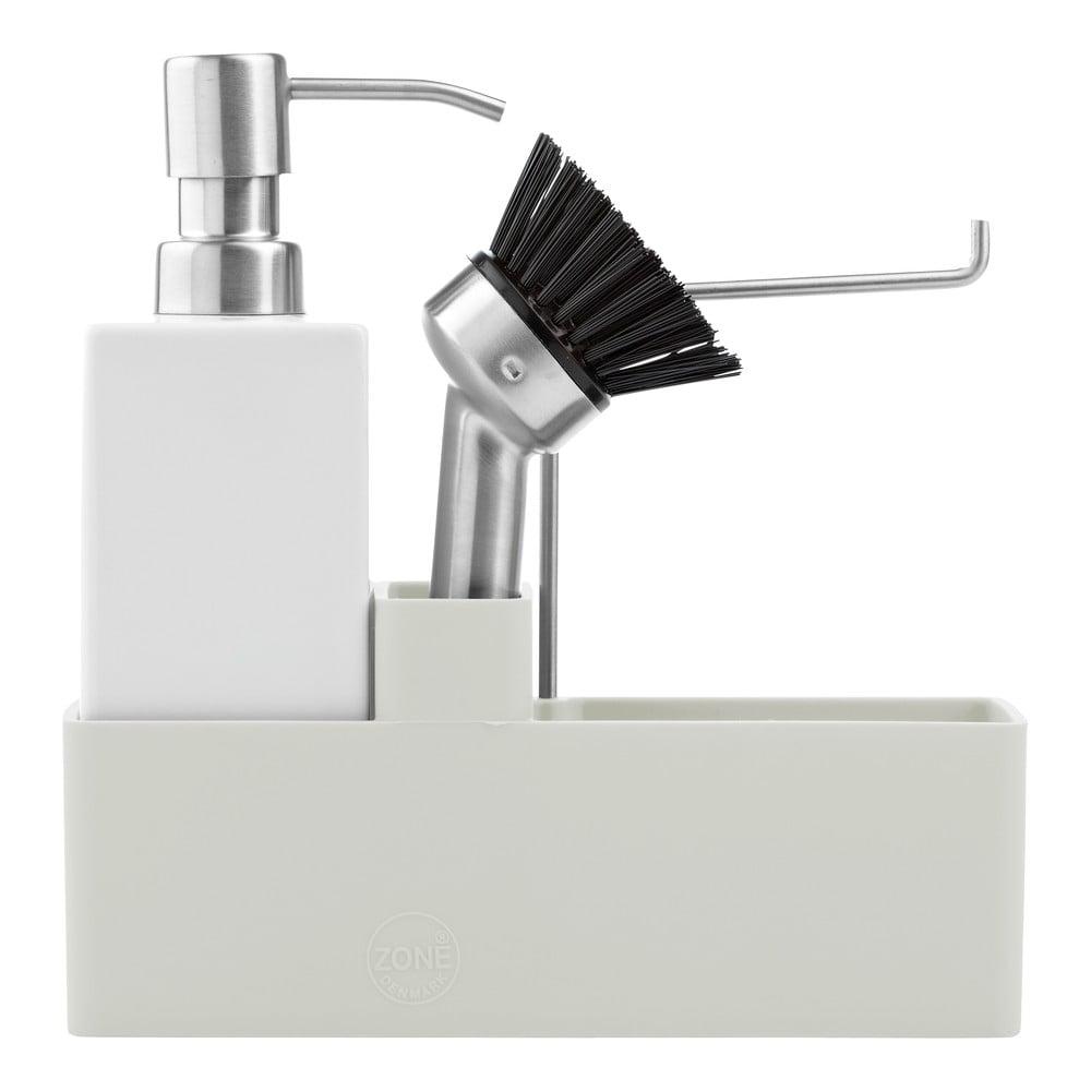 Světle šedý třídílný set na mytí nádobí Zone Trio