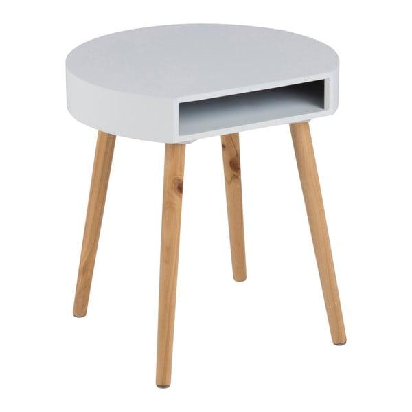 Bílý odkládací stolek s přihrádkou Actona Ela