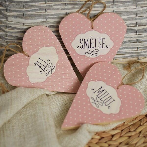 Sada 3 dřevěných srdcí Žij, směj se, miluj, růžová