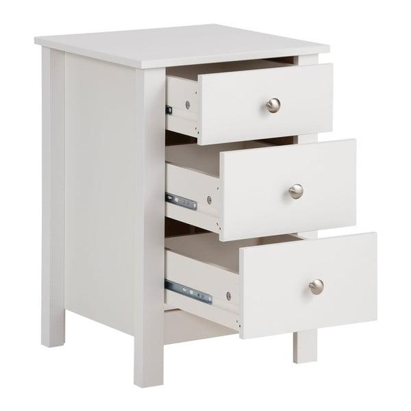 Bílý noční stolek se 3 zásuvkami Støraa Aldo