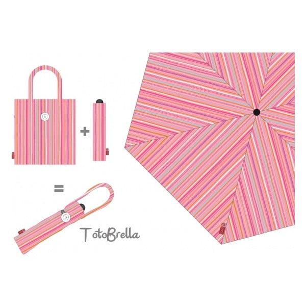 Skládací deštník TotoBrella, pink stripes