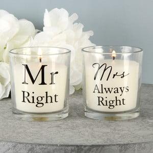 Sada 2 svíček s vůní bavlny Amore Mr. Right and Mrs. Always Right, 18hodinhoření