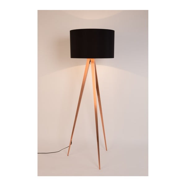 Černá stojací lampa s nohami v měděné barvě Zuiver Tripod