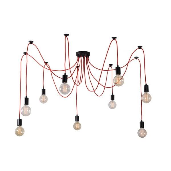 Červené devítiramenné závěsné světlo Filament Style Spider
