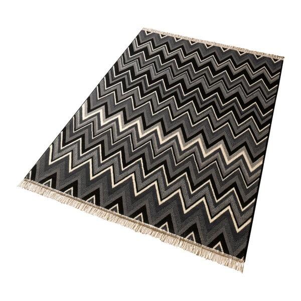 Koberec Hanse Home Fringe Black, 80 x 200 cm