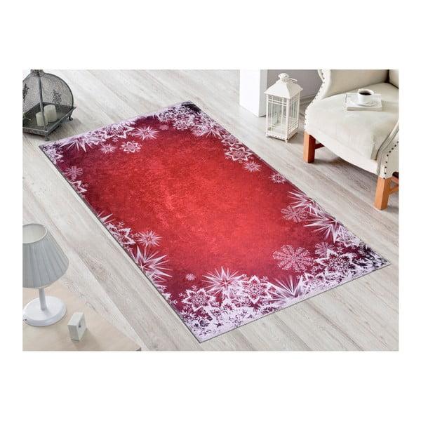 Červeno-biely koberec Vitaus Snowflakes, 50×80 cm