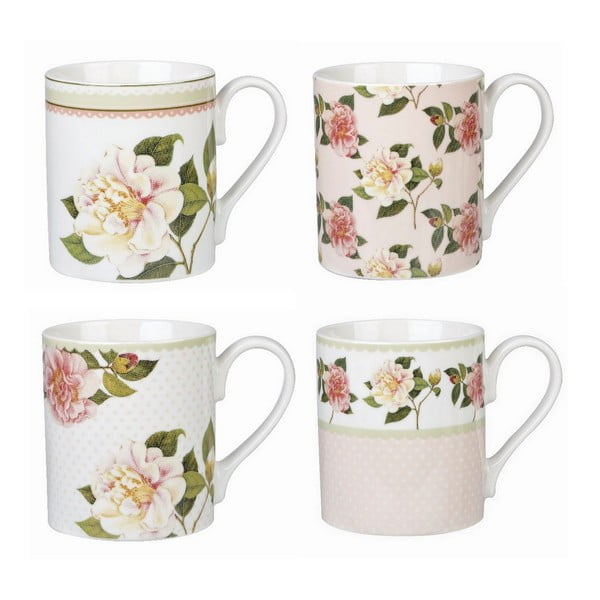 Set 4 ks hrnků Camelias, 250 ml