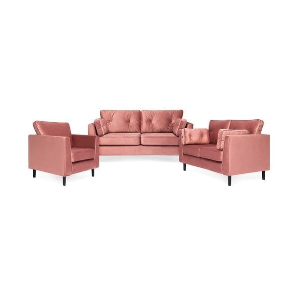 Pudrově růžová 2místná sedačka Vivonita Portobello