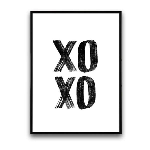 Plakát v dřevěném rámu XoXo, 38x28 cm