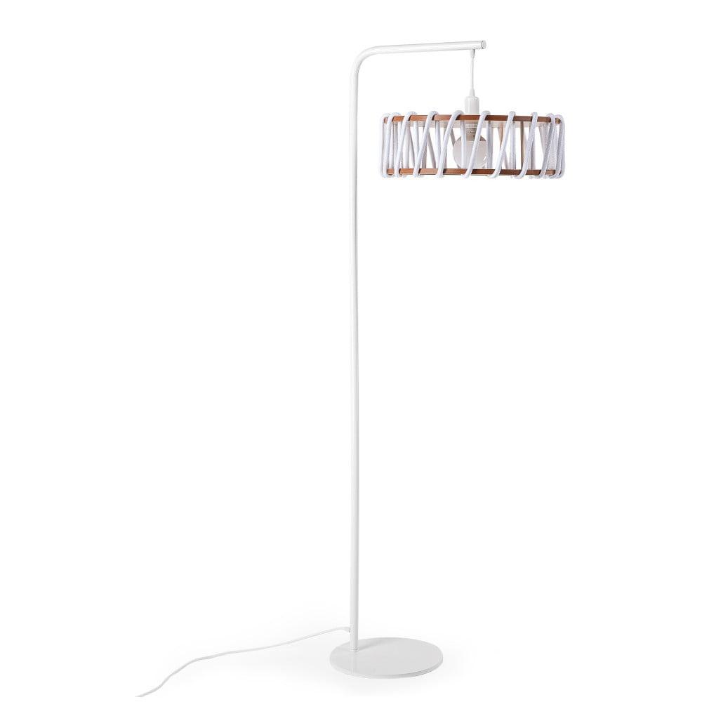 Stojací lampa s bílou konstrukcí a velkým bílým stínidlem EMKO Macaron