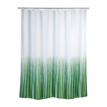 Perdea duș Wenko Nature, 180 x 200 cm, verde - alb imagine