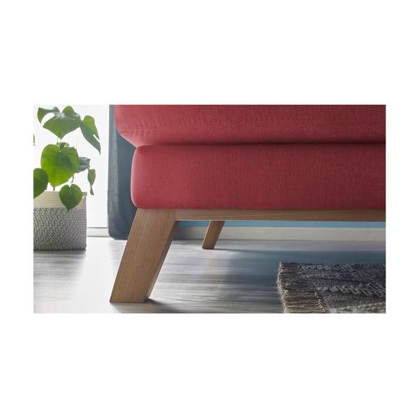 Červená třímístná pohovka s lenoškou Bobochic Paris Seattle, levý roh