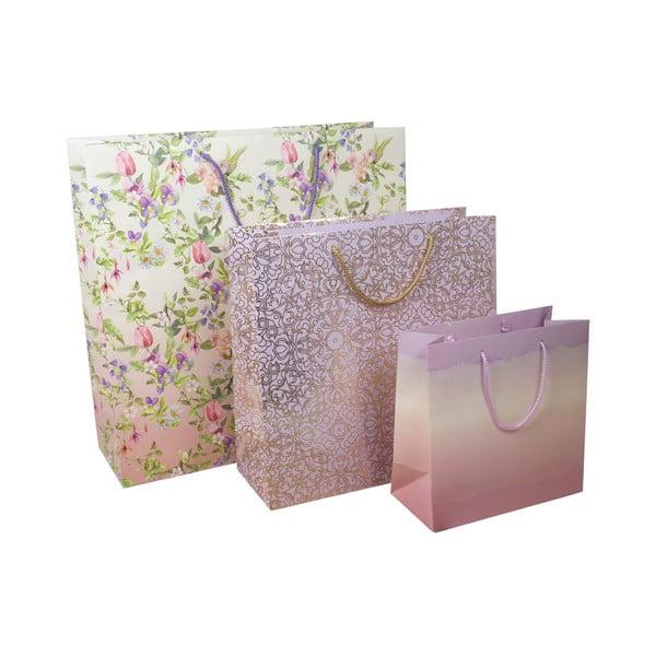 Sada 3 dárkových tašek a 3 rolí balícího papíru Charming Garden