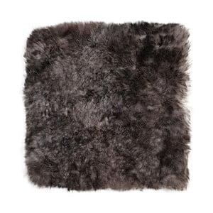 Tmavě šedý podsedák z ovčí kožešiny Eglé, 37 x 37 cm