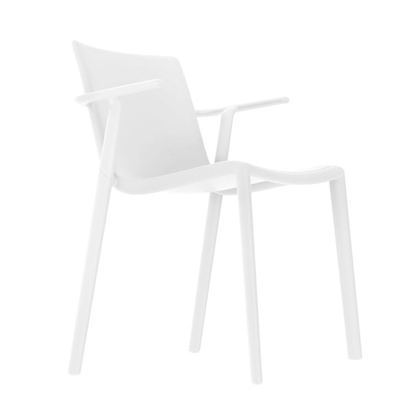 Sada 2 bílých zahradních židlí s područkami Resol Kat
