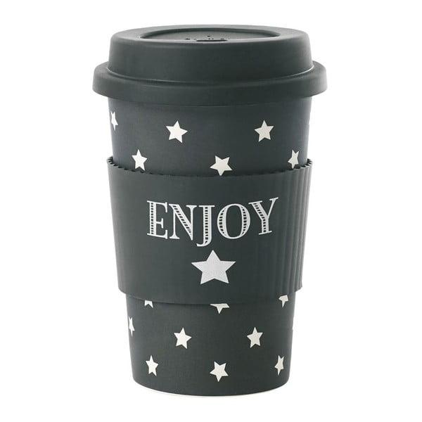 Bambusový cestovní hrnek Enjoy Black Stars, 0,5 l