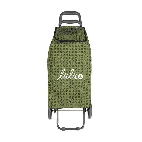 Khaki torba na zakupy na kółkach Lulucastagnette Ridey, 37 l