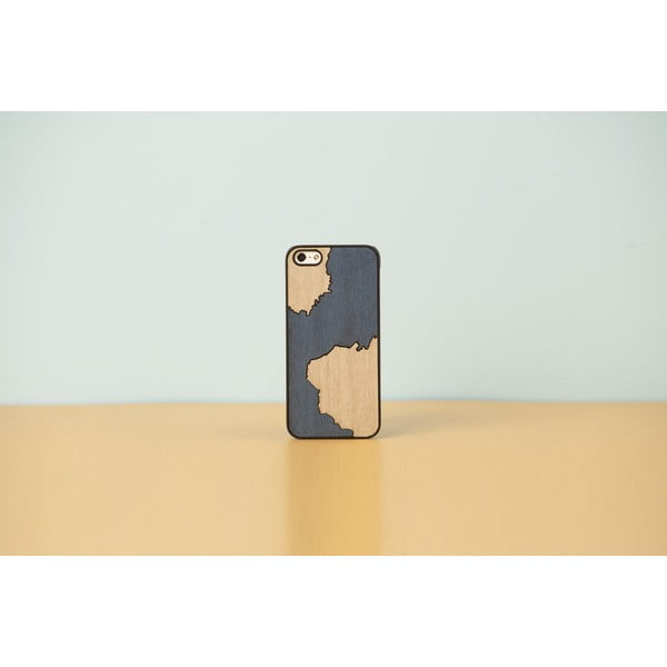 Dřevěný obal na iPhone 5/5S Inlays, stain blue