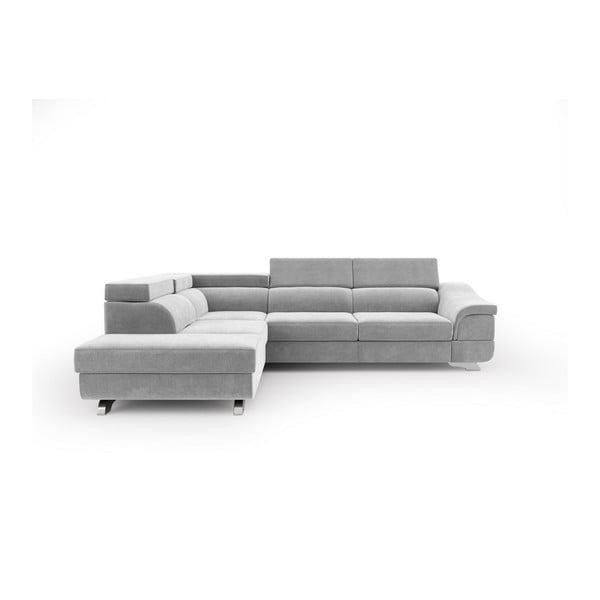 Canapea extensibilă cu înveliș de catifea Windsor & Co Sofas Apollon, pe partea stângă, gri deschis