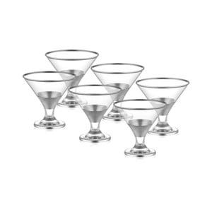Sada 6 skleněných pohárů na servírování zmrzliny ve stříbrném dekoru The Mia Glam