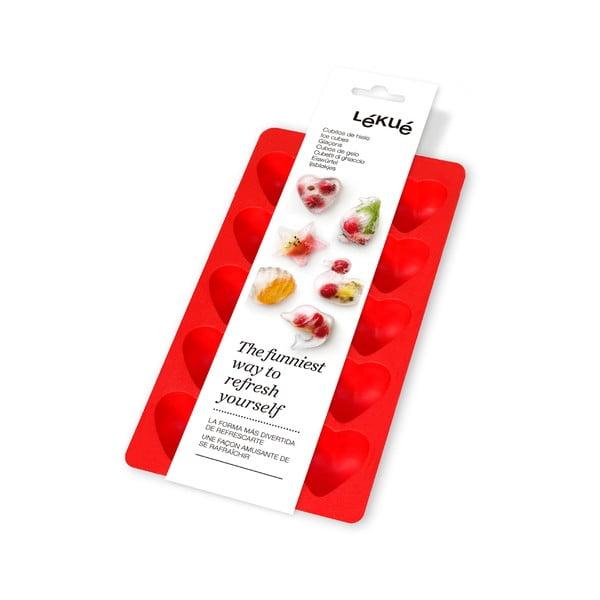 Formă din silicon pentru gheață Lékué Heart, 24 cuburi, roșu