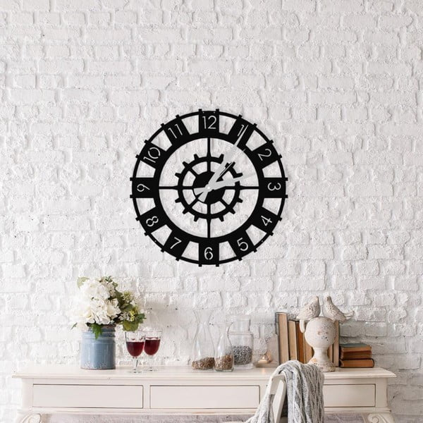 Čierne nástenné hodiny Patara Clock, ⌀50 cm