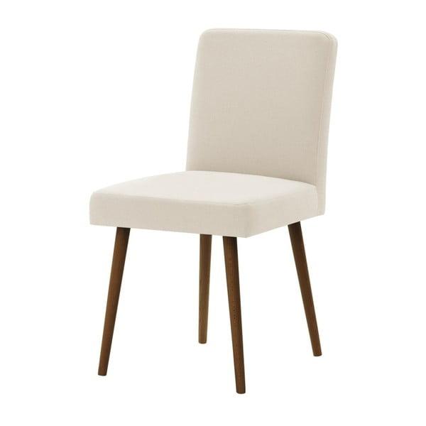 Krémovobiela stolička s tmavohnedými nohami Ted Lapidus Maison Fragrance