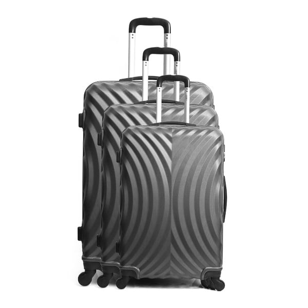 Sada 3 sivých cestovných kufrov na kolieskach Hero Lagos