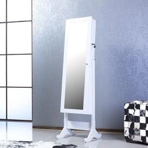 Uzamykatelné stojací zrcadlo se šperkovnicí Emily, bílé