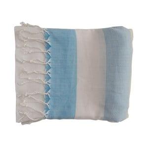 Prosop țesut manual din bumbac premium Gokku, 100 x 80 cm, albastru