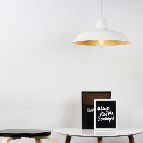 Bílé stropní svítidlo s detailem ve zlaté barvě Bulb Attack Cinco