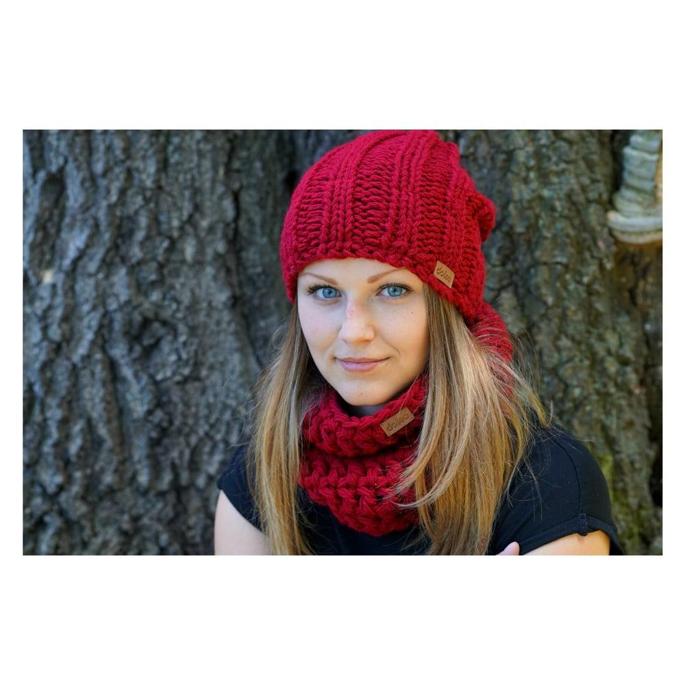Vínově červená ručně pletená čepice DOKE Mina ... 5816a6ccad